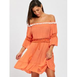 Flounce Off Shoulder Cover-up Dress -