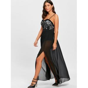 Lace Insert High Slit Party Maxi Dress -