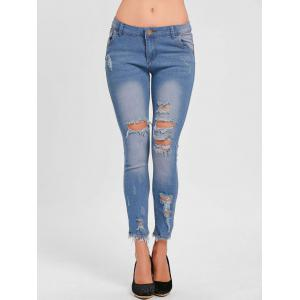 Distressed Skinny Ripped Jeans -