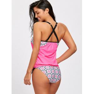 Printed Cross Back Blouson Tankini Swimsuit -