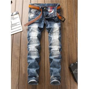 Bleached Zipper Fly Suture Panel Ripped Jeans -