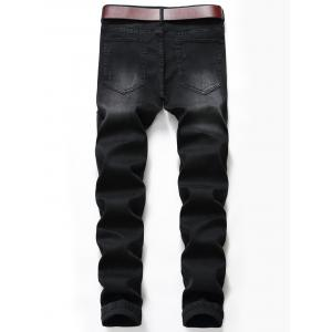 Jeans Slim Fit Zip Fly Distressed Biker -