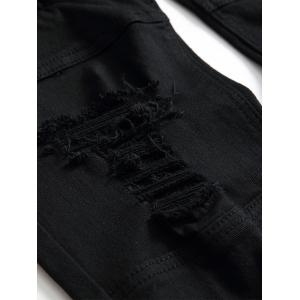 Zipper Fly Distressed Moto Jeans -