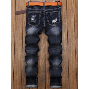 Graphic Applique Insert Straight Distressed Jeans -