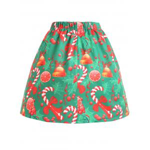 Christmas Bell Bowknot Print Plus Size Skirt -
