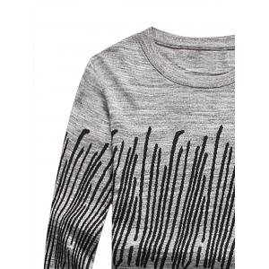Stripe Jacquard Long Sleeve Pullover Sweater -
