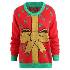 Plus Size Christmas Gift Bowknot Jacquard Sweater -