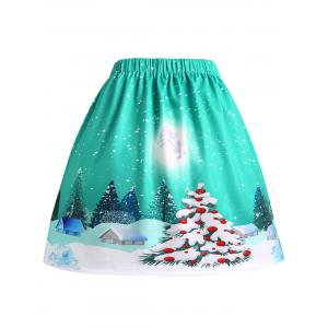 Christmas Tree Moon House Print Plus Size Skirt -