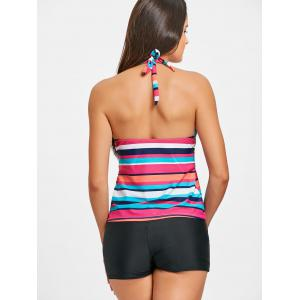 Striped Halter Neck Tankini Set -