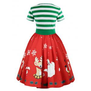 Christmas Print Short Sleeve Belted Vintage Dress -