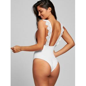 Low Back One Piece Lace Trim Swimsuit -
