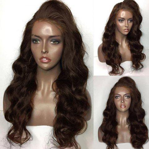 Trendy Long Side Part Shaggy Body Wave Lace Front Human Hair Wig