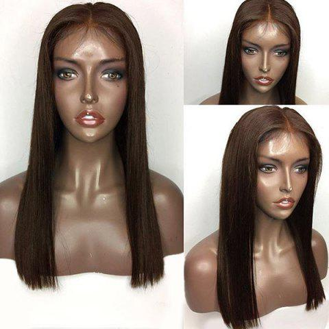 Fancy Long Center Part Straight Lace Front Human Hair Wig
