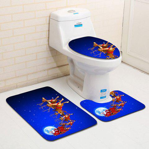Trendy 3PCS Flannel Moon Christmas Sled Printed Bath Toilet Mats Set