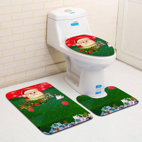 Buy 3Pcs Christmas Theme Graphic Flannel Bath Toilet Mats Set