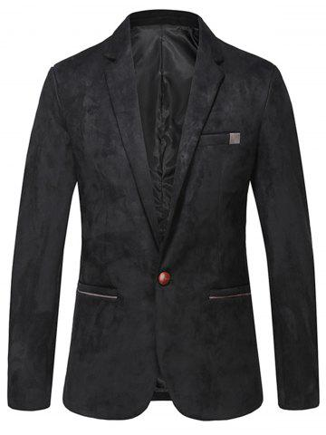 Lapel One Button Vintage Suede Blazer