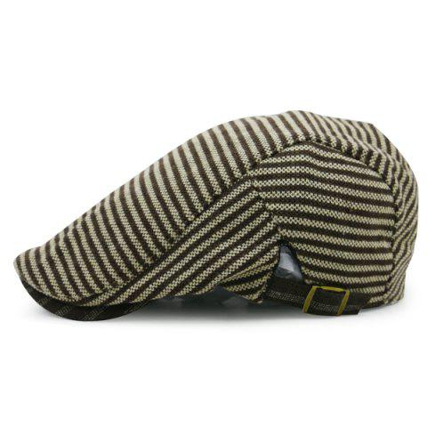 Latest Stripe Pattern Embellished Adjustable Cabbie Hat