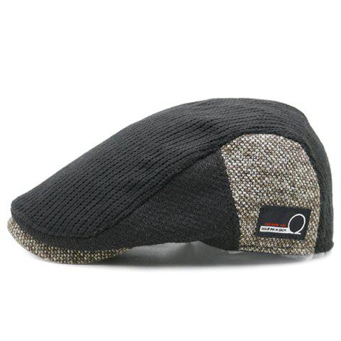 Outfit Outdoor Letter Label Pattern Knitted Newsboy Hat