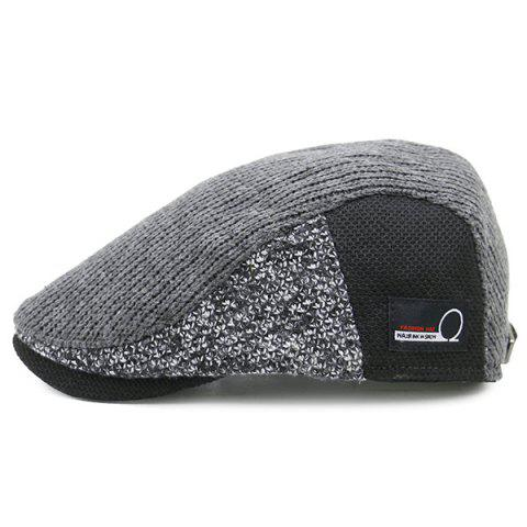 Hot Outdoor Letter Label Pattern Knitted Newsboy Hat