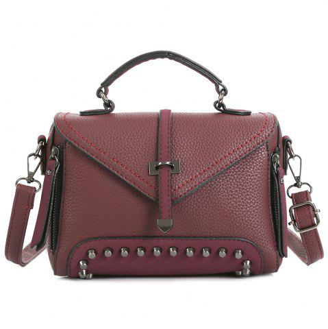 Fancy Faux Leather Studs Crossbody Bag