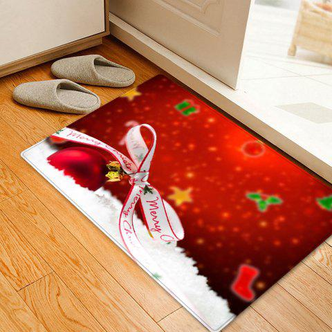 Fashion Christmas Bowknot Ball Pattern Anti-skid Water Absorption Area Rug