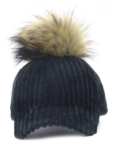 Outfits Outdoor Removable Fuzzy Ball Embellished Corduroy Baseball Hat