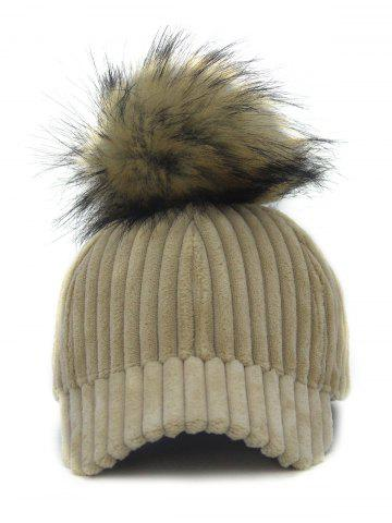 Online Outdoor Removable Fuzzy Ball Embellished Corduroy Baseball Hat