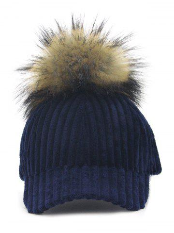 Fancy Outdoor Removable Fuzzy Ball Embellished Corduroy Baseball Hat