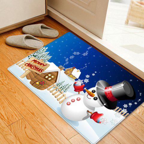Trendy Christmas Snowman House Pattern Anti-skid Water Absorption Area Rug