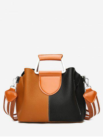 Sale Stitching Faux Leather Contrasting Color Handbag