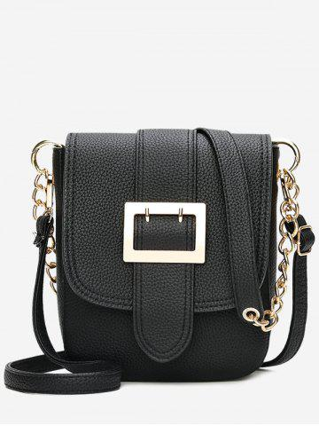 Store Chain Faux Leather Buckle Strap Crossbody Bag