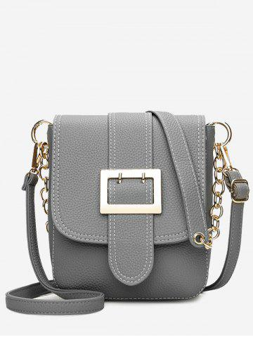 Chic Chain Faux Leather Buckle Strap Crossbody Bag