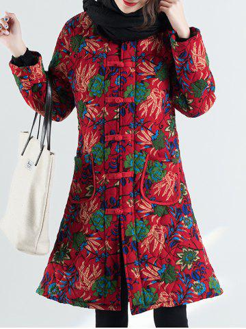 Button Floral Ethnic Long Padded  Coat