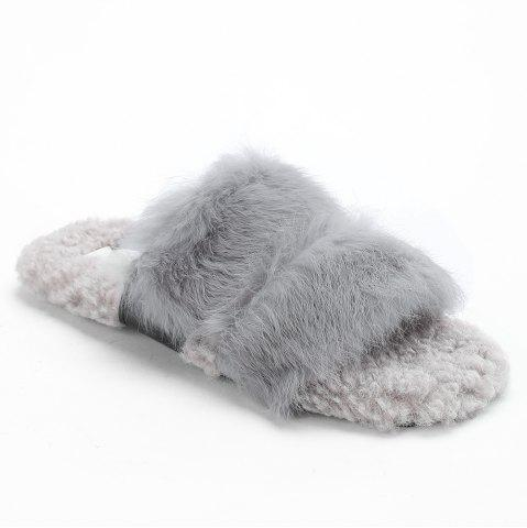 Affordable Open Toe Faux Fur Outdoor Slippers