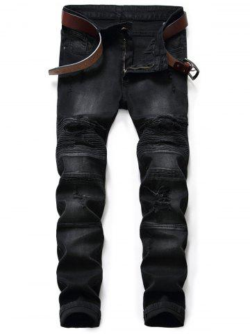 Jeans Slim Fit Zip Fly Distressed Biker