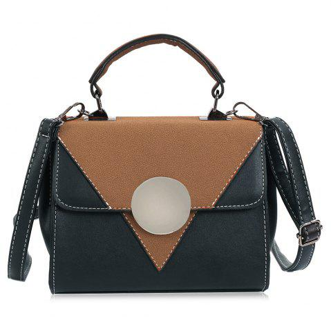 Fashion Color Block Triangle Pattern Crossbody Bag