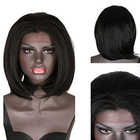 New Lace Front Short Straight Yaki Bob Synthetic Wig