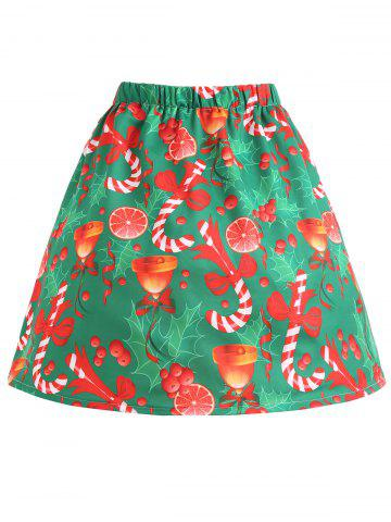 Cheap Christmas Bell Bowknot Print Plus Size Skirt