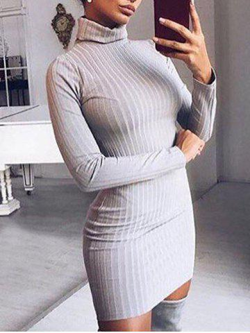 Fancy Mini Turtleneck Knit Ribbed Dress