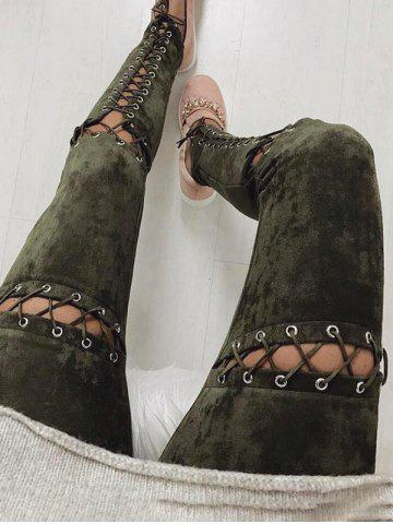 Cheap Faux Suede Lace Up Skinny Pants