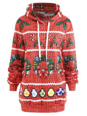 Store Christmas Berry Bowknot Printed Plus Size Hoodie