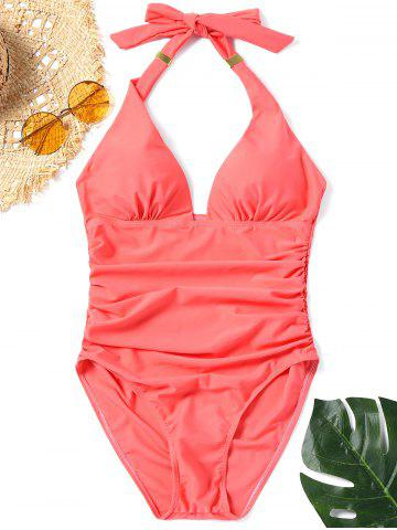 Chic Halter One Piece Ruched Swimsuit