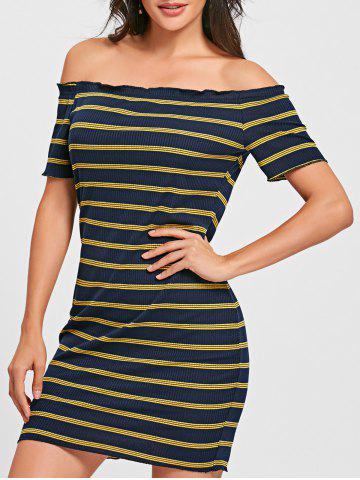 Hot Striped Off The Shoulder Bodycon Dress