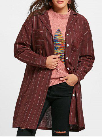 Outfit Pockets Striped Long Oversized Shirt