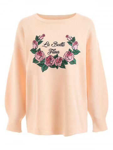 Outfits Floral Letter Embroidered Plus Size Sweater