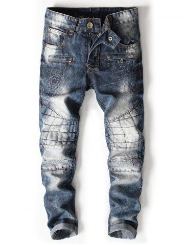 Hot Bleached Zipper Fly Suture Panel Ripped Jeans
