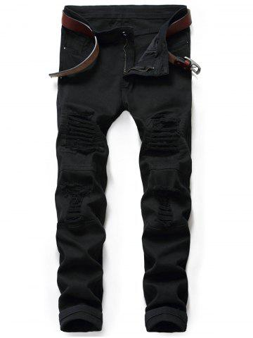 Zipper Fly Distressed Moto Jeans