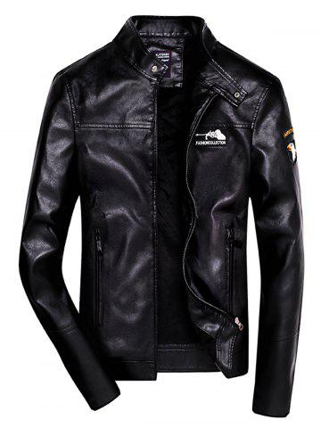 Embroidered Zip Up Faux Leather Jacket