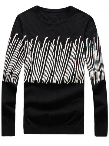 New Stripe Jacquard Long Sleeve Pullover Sweater