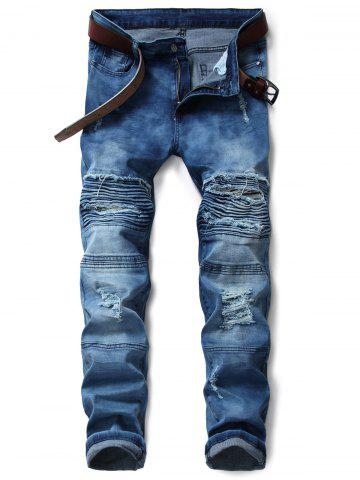 Shops Zip Fly Tie Dyed Distressed Biker Jeans